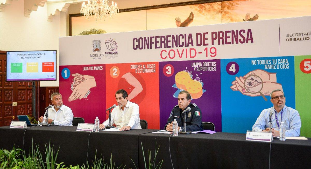 Comunicado de Prensa  Situación actual del Coronavirus COVID-19 en Morelos.   @SSM_Morelos informa que en Morelos se han confirmado cinco casos de coronavirus COVID-19, se han descartado 42 y están como sospechosos 27.