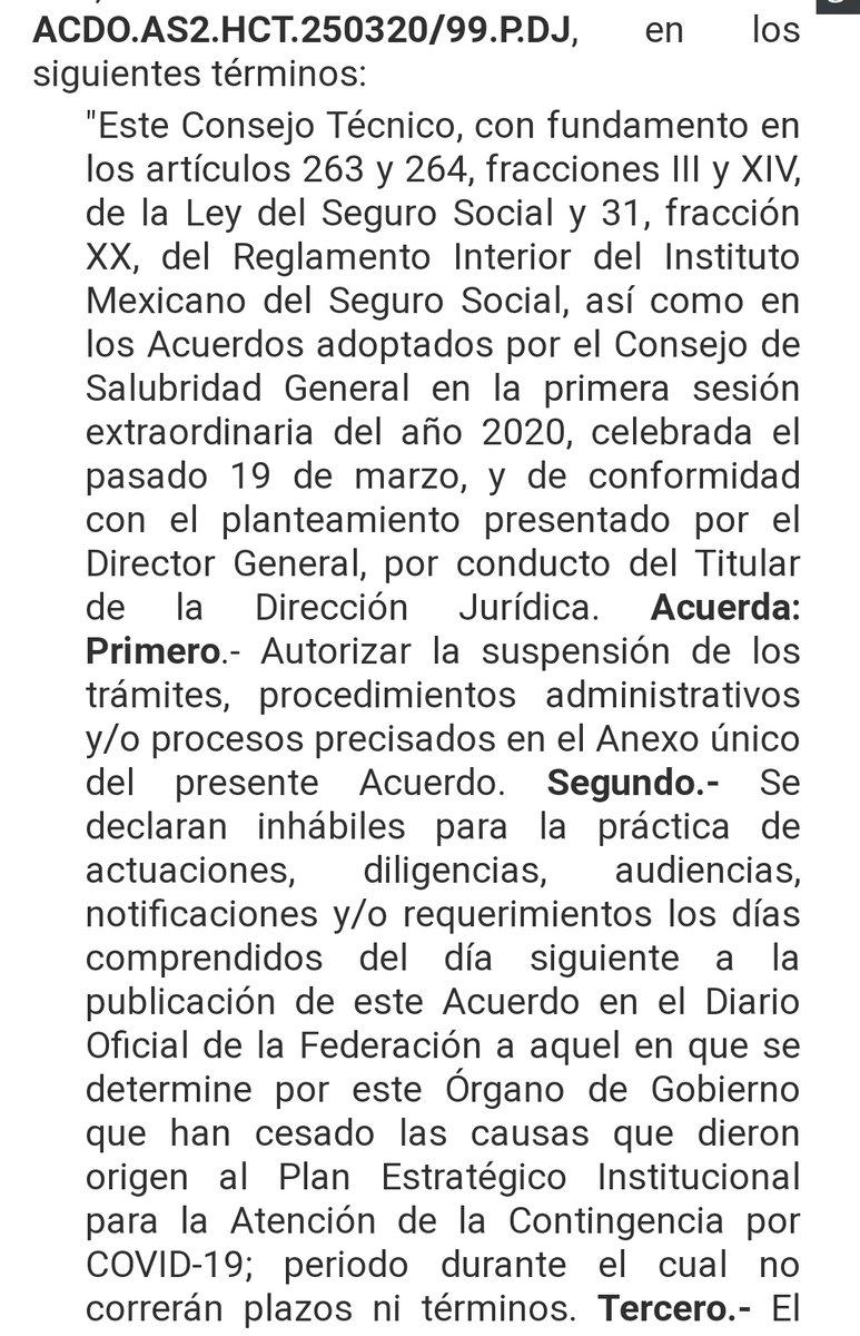 Se publican en el DOF acuerdo del @Tu_IMSS que dicta suspensiones de plazos y declaración de días inhábiles por Contingencia #COVID2019 #COVID19mx @GMcapacitacion1 #IMSS #Impuestos #contador