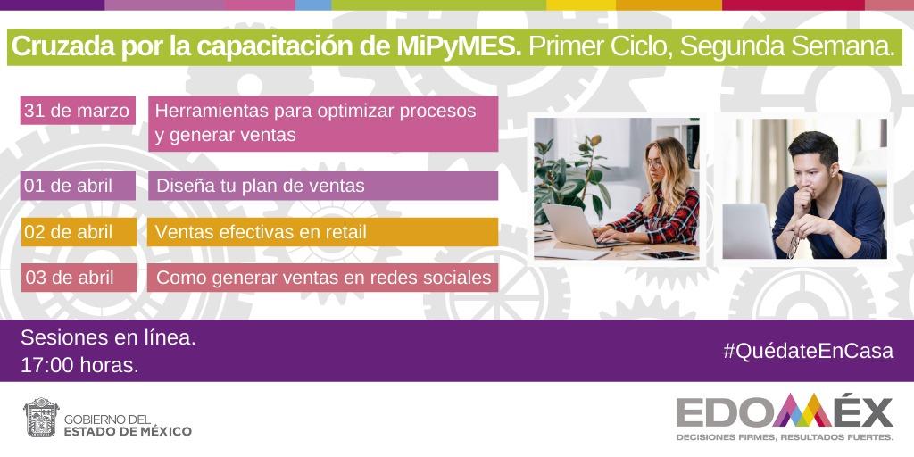 Empresario: ¿Deseas aprender cómo generar ventas?, Participa en los cursos en línea de la segunda semana de la Cruzada por la Capacitación de MiPyMES, siguiendo las medidas de contención del COVID-19. #QuédateEnCasa ¡Regístrate!
