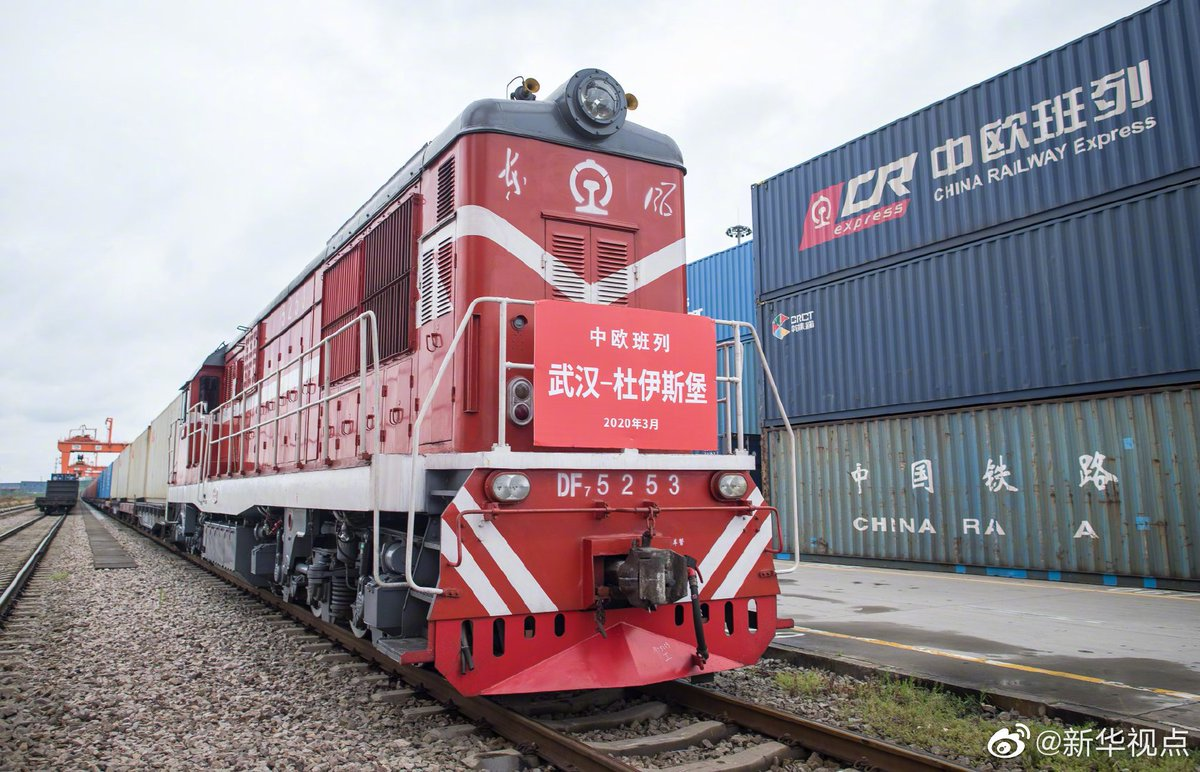 The first China-Euro freight train since the #COVID19 outbreak left #Wuhan on Saturday for Duisburg, Germany, marking the resumption of the service. The train is carrying 166.4 tons of anti-pandemic materials to #Europe and is expected to arrive in Germany in 15 days.
