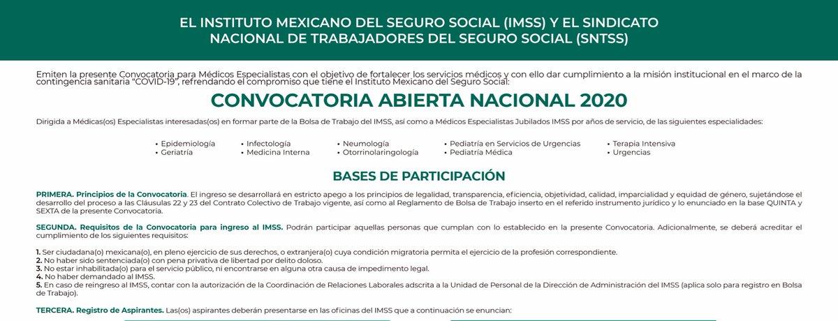 Convocatoria Abierta Nacional 2020.  Se buscan médicos especialistas (incluidos jubilados) para fortalecer la atención de la contingencia sanitaria #COVID19.  Consulta las BASES:  #FamiliaIMSS #MéxicoUnido #IMSSsolidario #Coronavirus