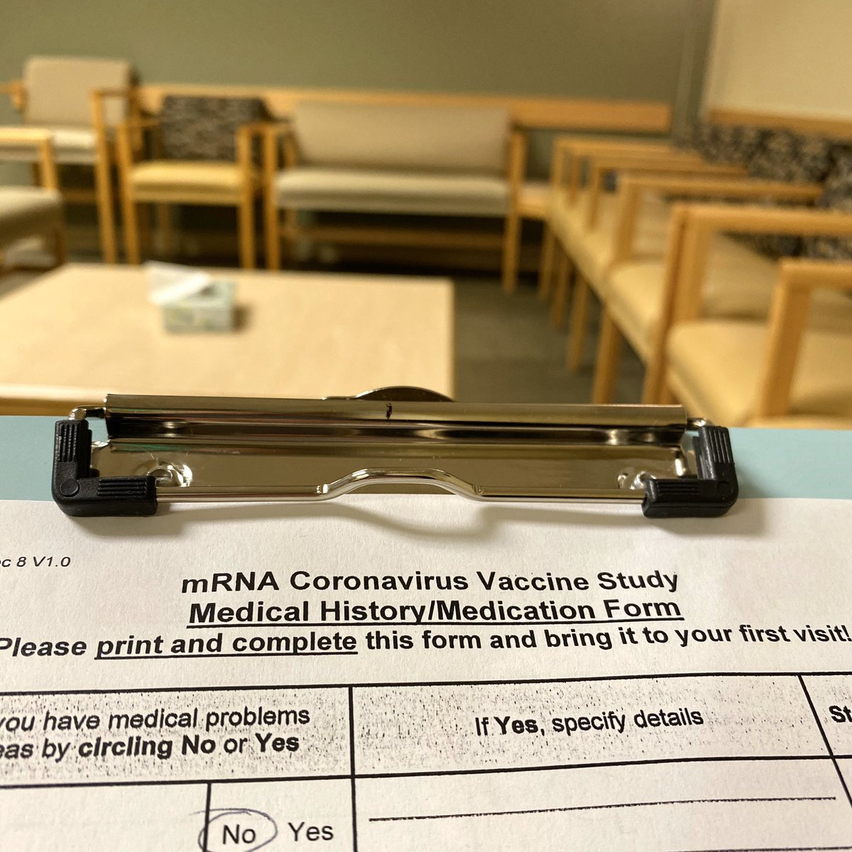 I've been admitted into the 1st COVID-19 vaccine trial.   I'm grateful for my health. For the 1000s of scientists who brought us here. For the team that developed this vaccine (@NIH, @moderna_tx, et al). For @KPWaResearch, and the nurse who came out of retirement to draw my blood