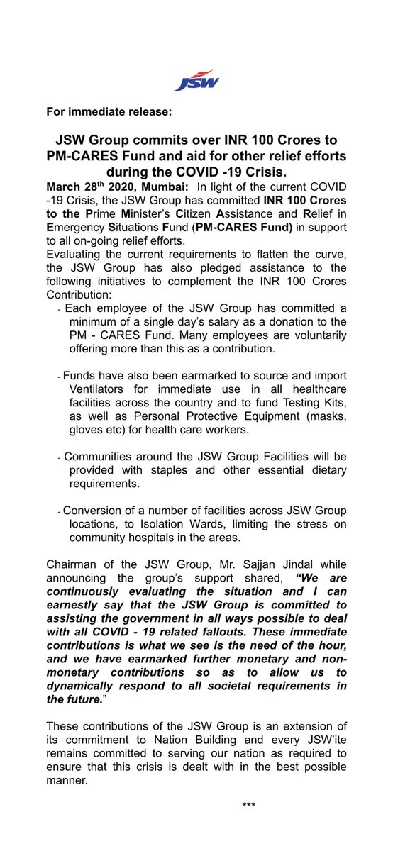 Chairman of the @TheJSWGroup and chairperson of @JSWFoundation   Papa @sajjanjindal and Ma @SangitaSJindal have decided to increase the @TheJSWGroup contribution to @narendramodi ji's PM - CARES  to Rs 100 crores - more to come.Proud to be a JSWite, proud to be Indian - JAI HIND