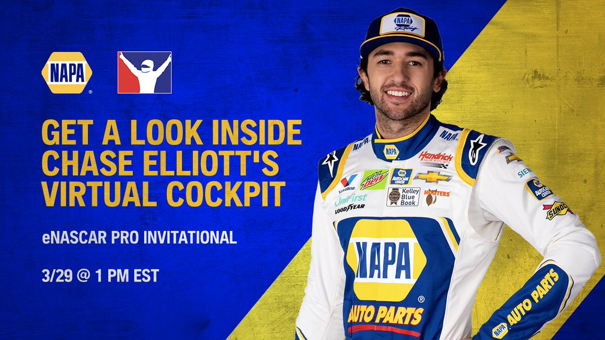 We are BACK live with Chase Elliott's in-game cockpit during the eNASCAR Pro Invitational on Twitch and YouTube ⬇️  🖥:  👾: