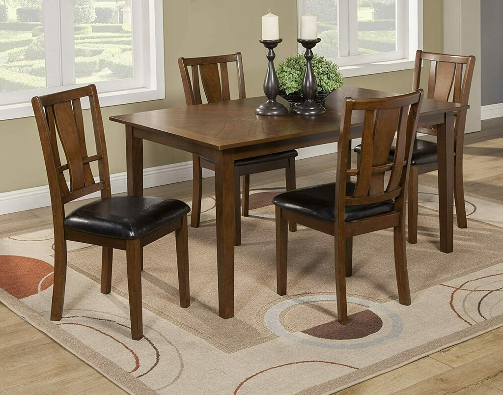 Alpine Furniture Del Rey 5 Piece Dining Set, Brown https://t.co/NyCgatcxBV...