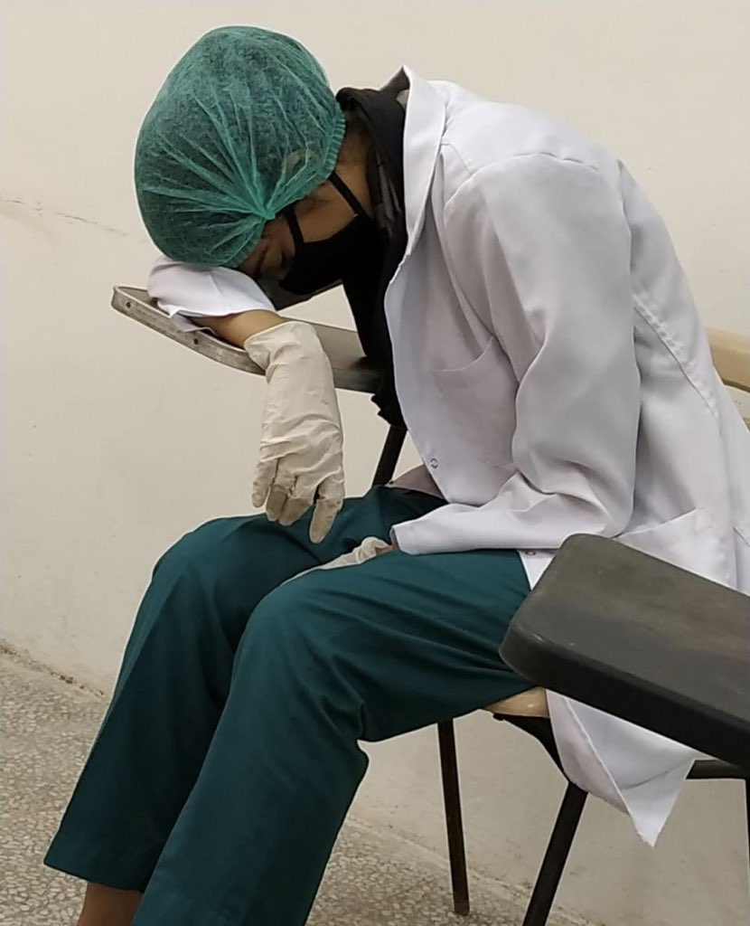 My Cousin is a frontline Doctor in Abbasi Shaheed Hospital Karachi. Doctors of this hospital are doing straight 36+ hours duties without any safety measures against #COVID19 & yet unpaid for past 3 months. They bought PPEs and Masks by themselves and no salary at all. KMC Sucks