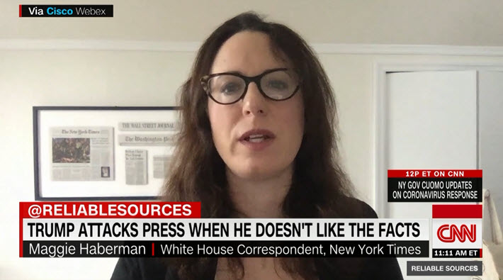 """Media: @maggieNYT to @brianstelter @ReliableSources: """"@realDonaldTrump's attacks on the media generally don't prompt the same reaction they used to ... [He] has said all kinds of things that are not true about this crisis, including about availability and frequency of testing."""""""