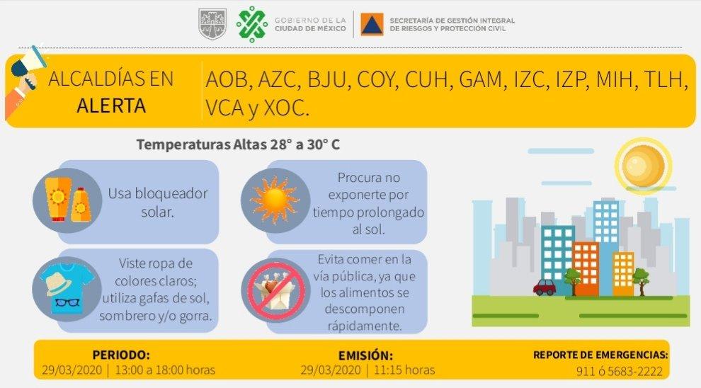Se activa #AlertaAmarilla por temperaturas altas de 28 a 30°C en: @AlcaldiaAO, @AzcapotzalcoMx, @BJAlcaldia, @Alcaldia_Coy, @AlcCuauhtemocMx, @TuAlcaldiaGAM, @IztacalcoAl, @Alc_Iztapalapa, @AlcaldiaMHmx, @Alc_Tlahuac, @A_VCarranza y @XochimilcoAl. #LaPrevenciónEsNuestraFuerza