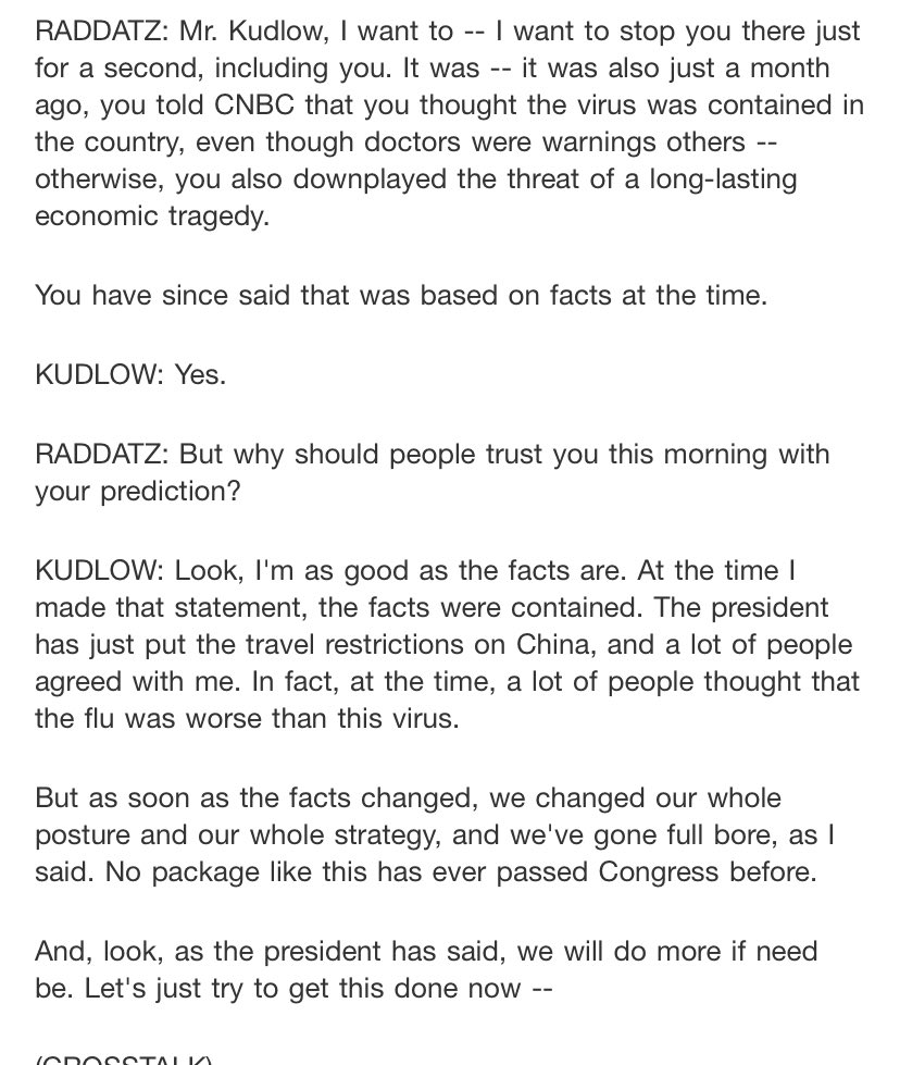 Kudlow this morning on ABC, with statements that are untrue about what was taking place when he said the virus was contained >