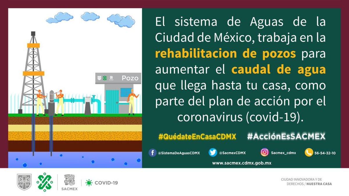 El #SACMEX trabaja en la rehabilitación de pozos para que el caudal de agua que llega hasta tu casa sea mayor. #ElRetoEs que tengas agua y con nuestras #AccionEsSACMEX lo estamos logrando. #QuedateEnCasaCMDX.