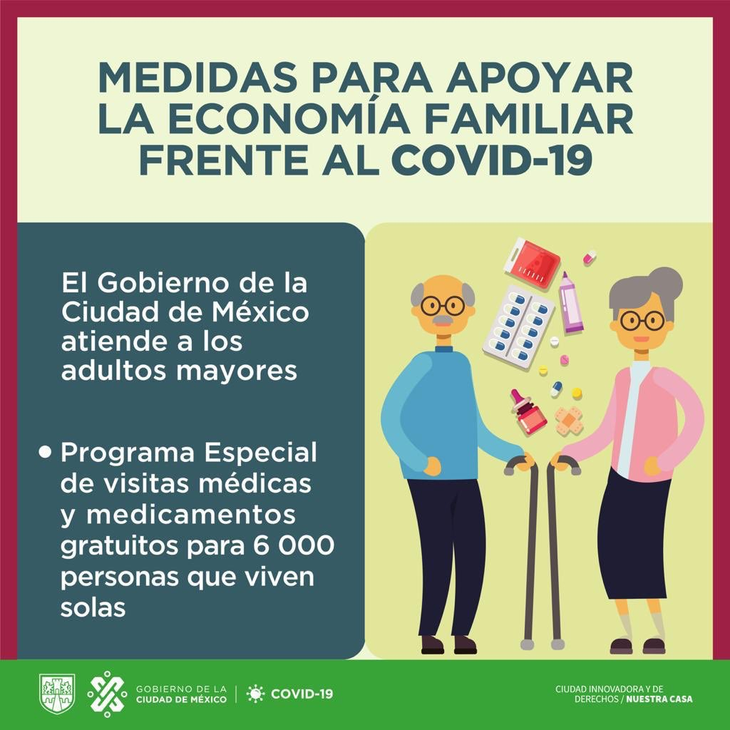 Las personas adultas mayores son la población más vulnerable ante el #COVID19, por ello el @GobCDMX les brinda apoyo. #QuédateEnCasa