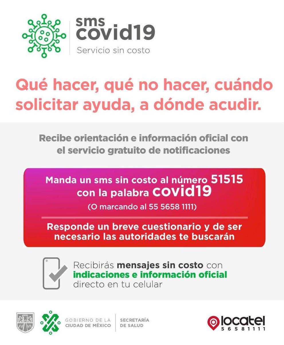 Si tienes algún síntoma manda mensaje sms a 51515 con la palabra covid-19 o llama a @locatel_mx. Si tus síntomas coinciden, un médico te hará diagnóstico clínico por teléfono. Te llevaremos un kit para apoyo para evitar contagio en casa.