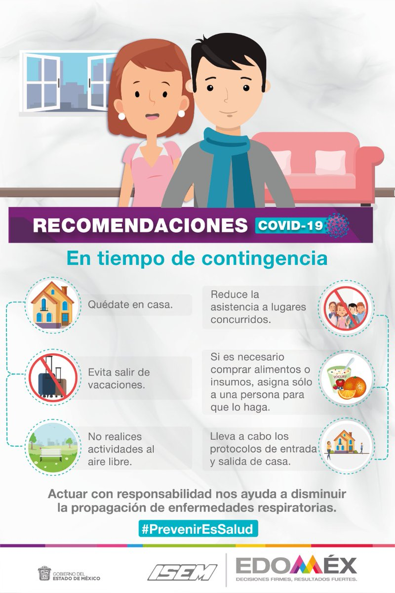 En tiempo de contingencia por #Covid_19mx, resguárdate en casa siguiendo las recomendaciones de #SaludEdoméx#EnEdoméxPrevenirEsSalud