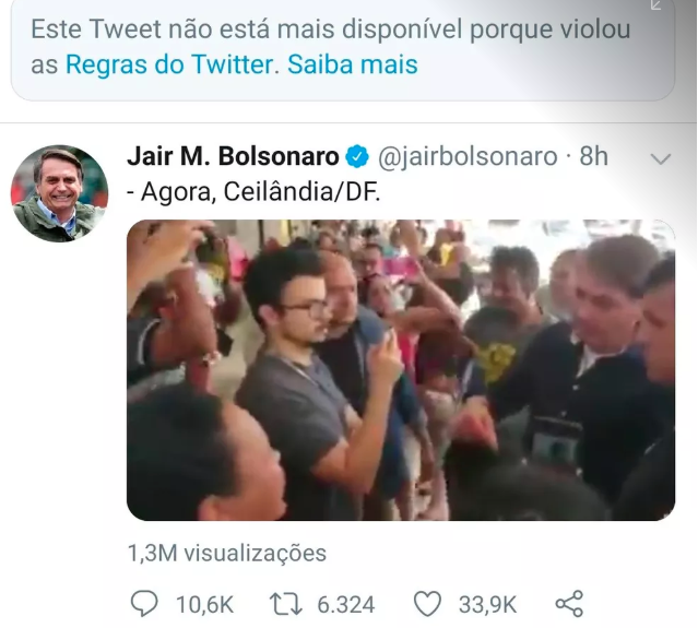 Today Twitter deleted 2 of Bolsonaro's posts for violating their policy against spread of false information regarding the #Covid_19 . In the posts, the president of #Brazil was campaigning in a popular market against the social isolation and spreading false info about a medicine.