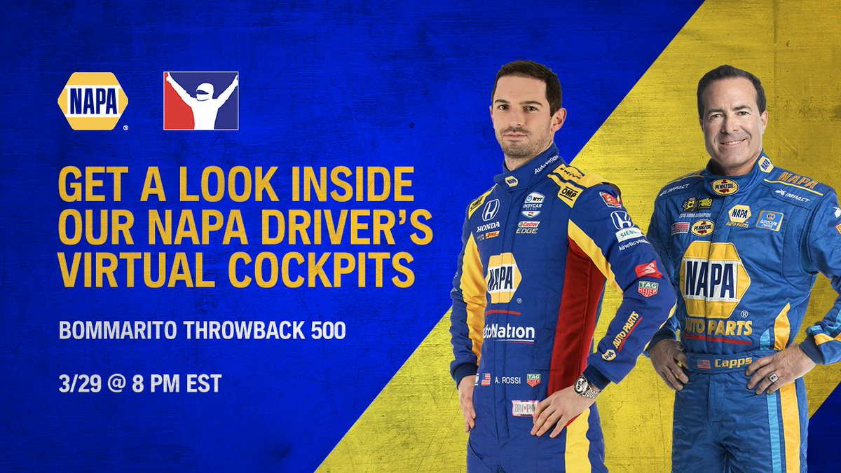 Best of luck to #NAPAKnowHow drivers @RonCapps28 and @AlexanderRossi tonight at virtual @WWTRaceway! 👊  Check out the cockpit view, #iRacing fans:   #Throwback500