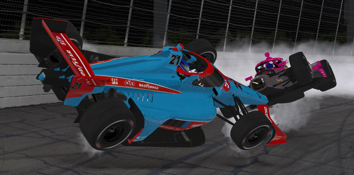Not how Colin Mullan and @AlexanderRossi were wanting their night to go 😯  Watch the rest of the #Throwback500 from the virtual @WWTRaceway LIVE on Speed51 for 𝙁𝙍𝙀𝙀 !   📺:   @S51eSports | @EliteRacing_