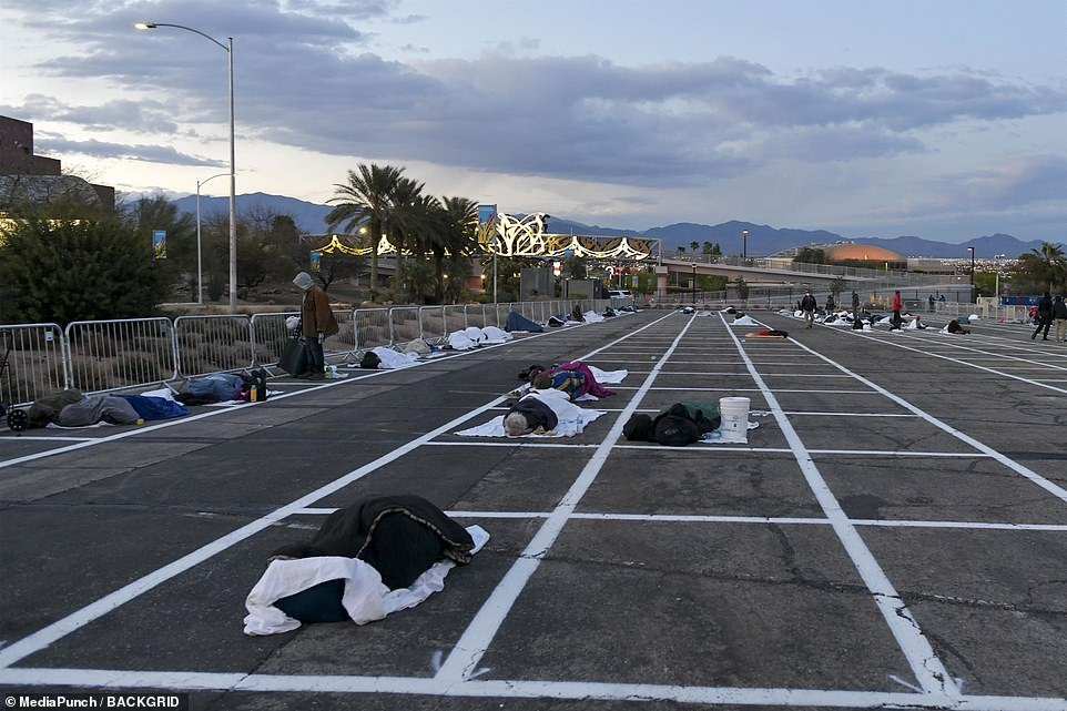 Nevada, a state in one of the richest countries in the world, has painted social-distancing boxes on a concrete parking lot for the homeless to sleep in.
