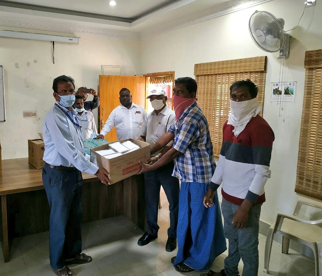 Dear @PawanKalyan , Our team of officers met Andhra Pradesh fishermen representatives and distributed food, water & other essential commodities. They are safe and secure now! Let their families not worry! Thank you!