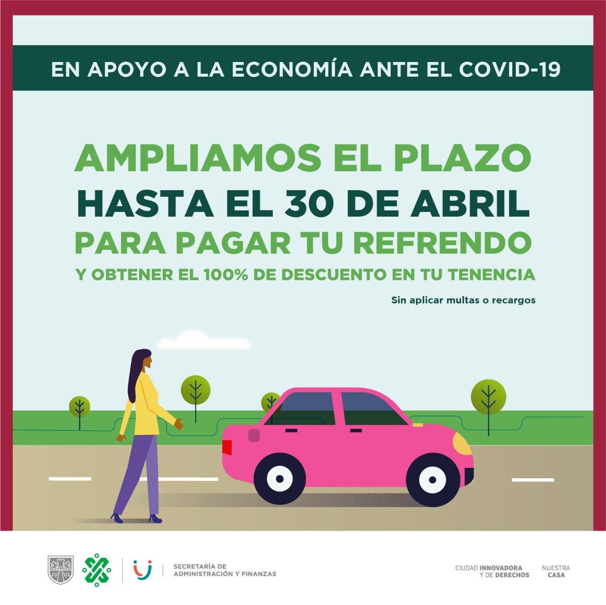 En apoyo a la economía de las familias capitalinas frente al #COVID19 ampliamos el plazo para pagar tu refrendo hasta el 30 de abril, manteniendo el descuento del 100% en tu #Tenencia2020.   Recuerda que puedes realizar el pago en línea   #QuédateEnCasaCDMX