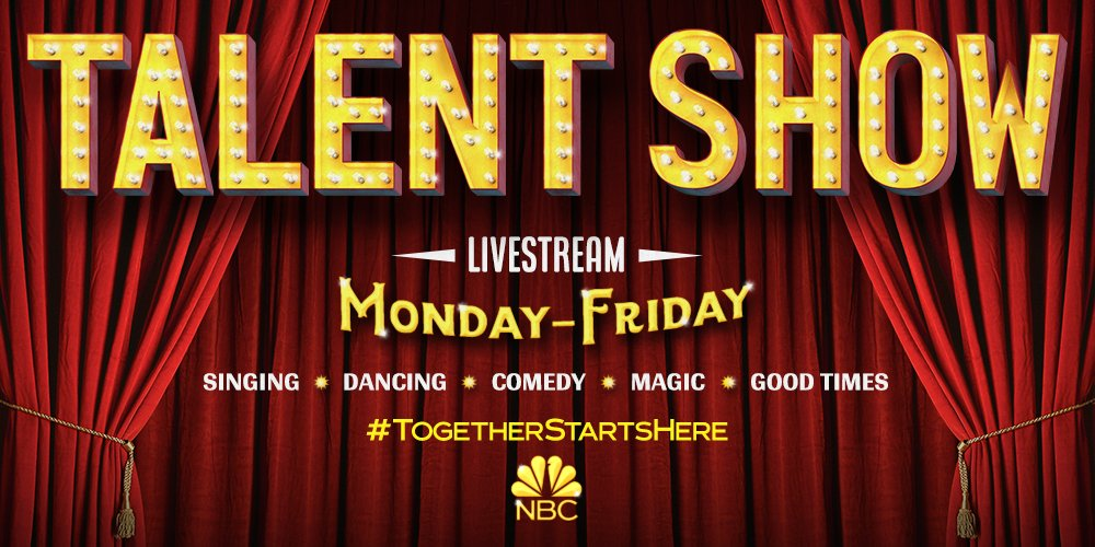 We're bringing NBC talent straight to your living room! Join us as dancers, singers, comedians and more go LIVE on their Instagram pages every weekday. See below for our full schedule! #TogetherStartsHere https://t.co/HuiLPfoYks