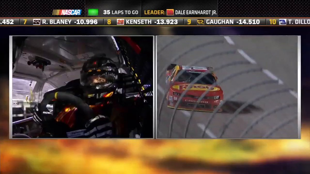 """Anyone else miss the patented @DaleJr """"reach the right hand across the wheel while turning"""" move? 😭  He and @SteveLetarte break down his car's handling heading into the homestretch in this 2014 #XfinitySeries race at @TXMotorSpeedway!"""
