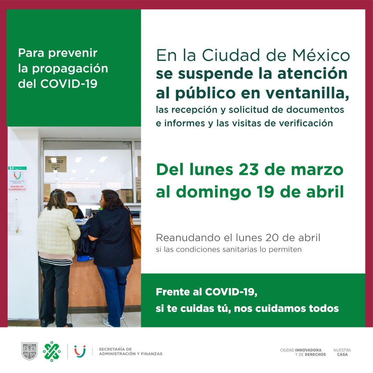 #QueNoSeTePase Desde el 23 de marzo de 2020 hasta el domingo 19 de abril está suspendida la atención al público por ventanilla, como medida para prevenir la propagación del #Covid19  en la Ciudad de México. #QuédateEnCasaCDMX