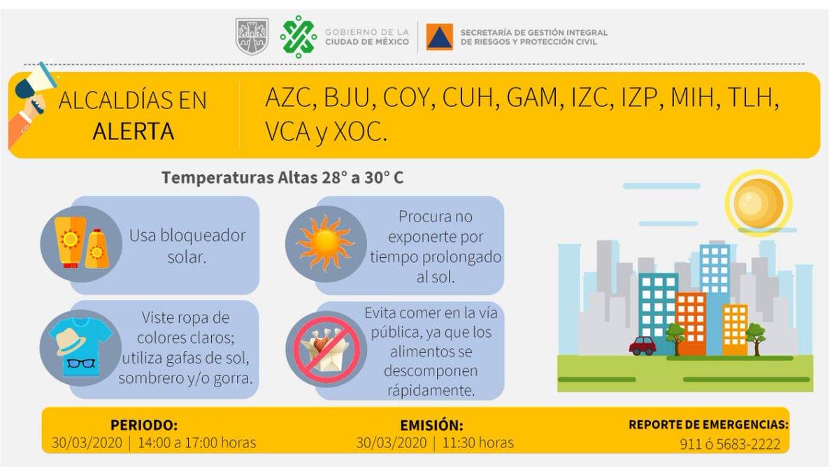 Se activa Alerta Amarilla por temperaturas altas de 28 a 30 °C en @AzcapotzalcoMx, @BJAlcaldia, @Alcaldia_Coy, @AlcCuauhtemocMx, @TuAlcaldiaGAM, @IztacalcoAl, @Alc_Iztapalapa, @AlcaldiaMHmx, @Alc_Tlahuac,  @A_VCarranza y @XochimilcoAl.   Toma tus precauciones