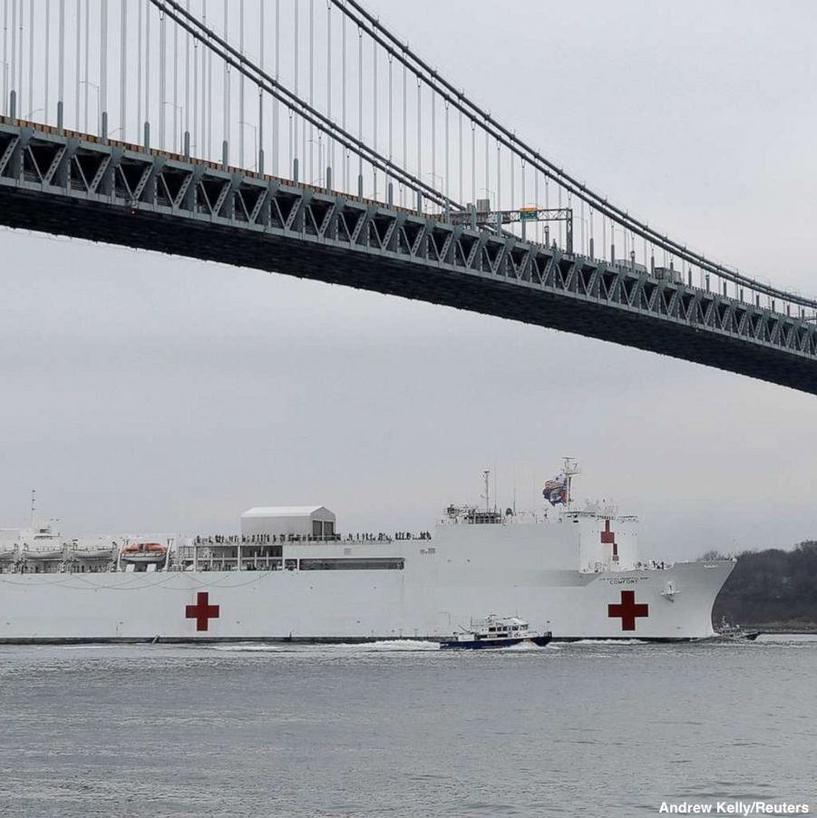 The USNS Comfort, loaned to the coronavirus fight, enters the New York Harbor. The ship is equipped with 1,000 patient beds, 12 operating rooms, eight intensive care unit beds, and up to 1,200 Navy medical and communications personnel.