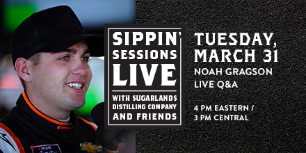 Tomorrow on Sippin' Sessions #Live, we have #NASCAR driver @NoahGragson joining us in the hot seat! He'll be talking all things NASCAR and we'll be mixing up a cocktail or two. You don't want to miss it!