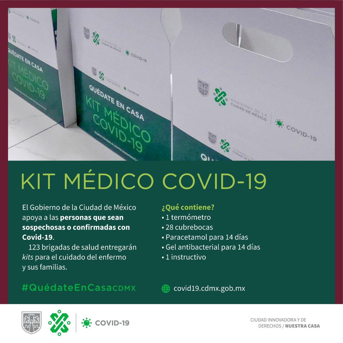 A través de las brigadas de salud, entregaremos kits en hogares para el cuidado de personas con #COVID19 y de sus familias.  #QuédateEnCasaCDMX