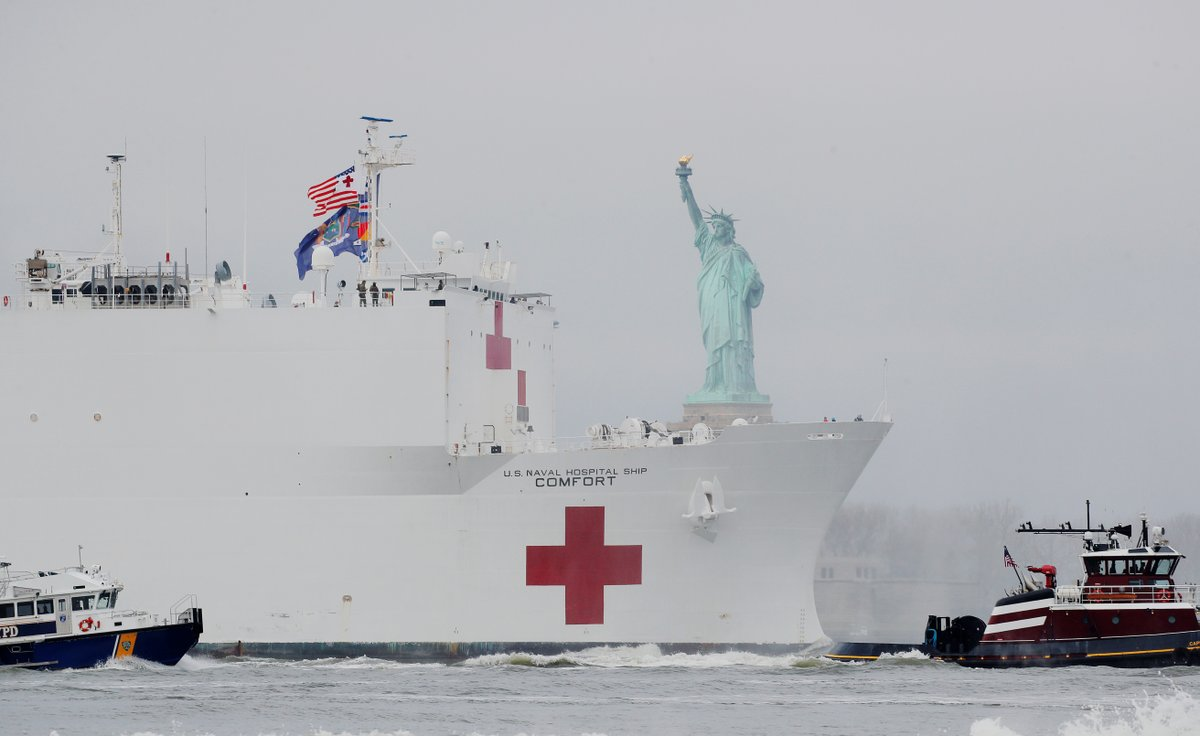 USNS Comfort passes the Statue of Liberty as it enters New York Harbor on Monday morning.