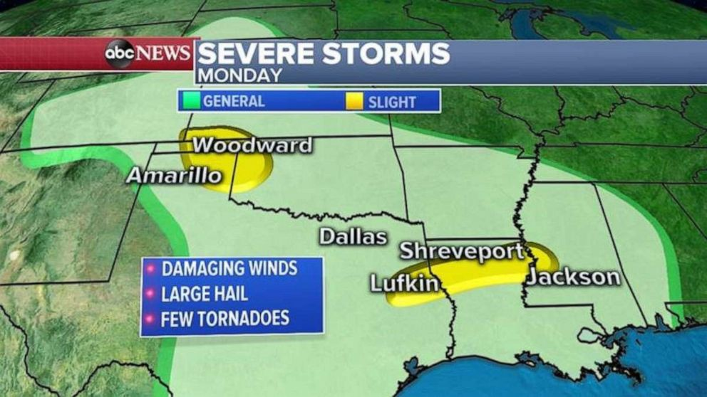 Severe weather is expected from the Plains into the Gulf Coast states from Kansas to Mississippi where damaging winds and large hail will be the biggest threat.