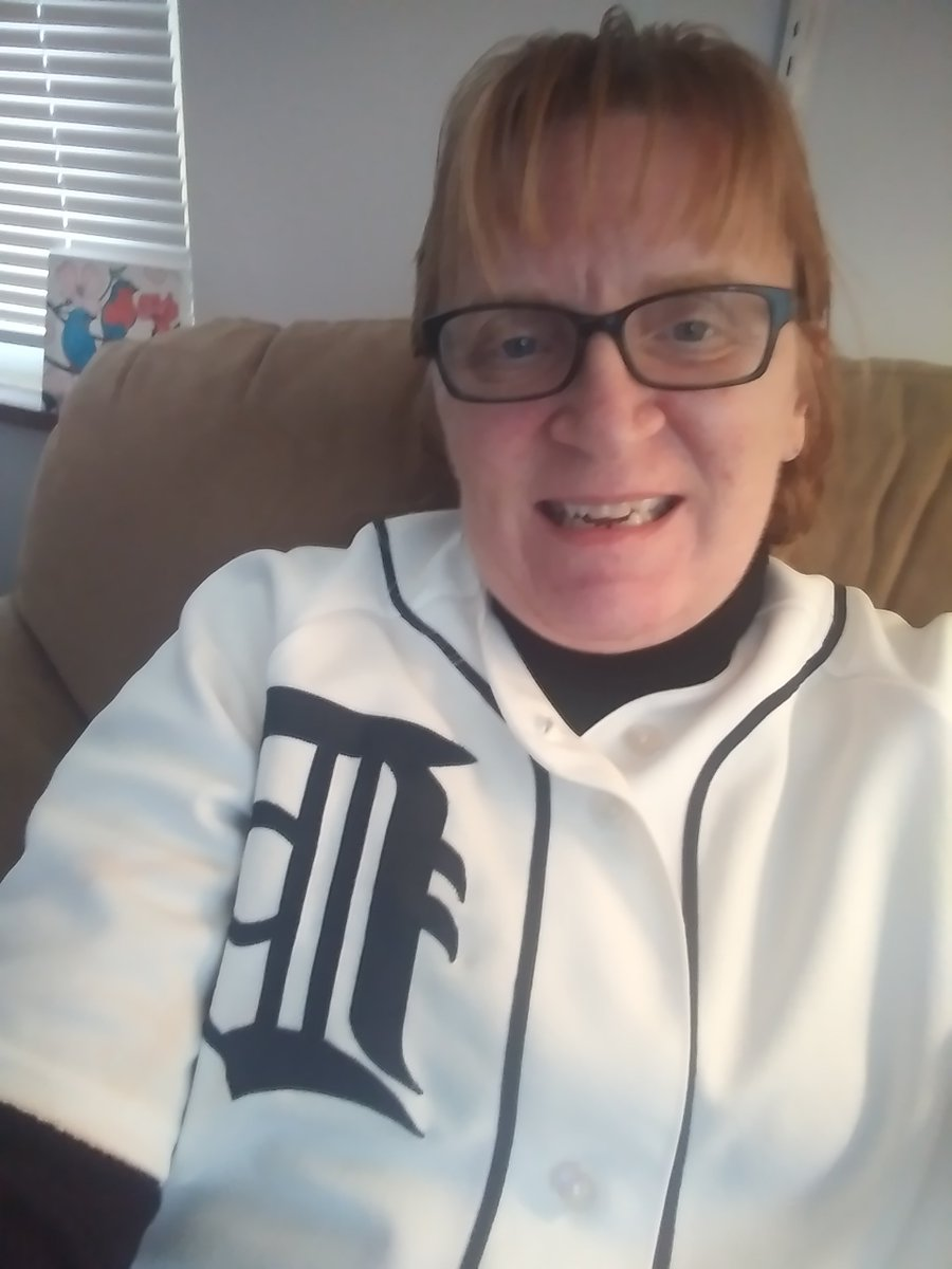 Wearing my @Tigers gear at home for #OpeningDayAtHome now. Today this would have been opening day. I went to a game last year during Opening Week. Miss #MLB #Baseball ⚾ Love you Tigers, be safe and come back in May or whenever you can. ❤ ❤