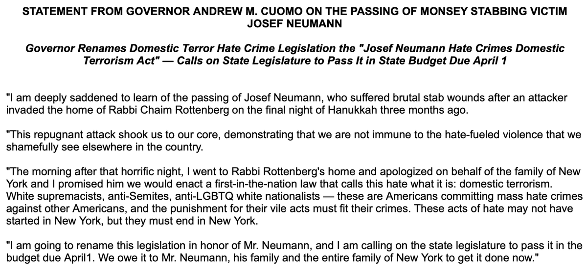 """NEW: Gov. Andrew Cuomo on death of Monsey, NY, Hanukkah stabbing victim: """"I promised him we would enact a first-in-the-nation law that calls this hate what it is: domestic terrorism...I am going to rename this legislation in honor of Mr. Neumann."""""""