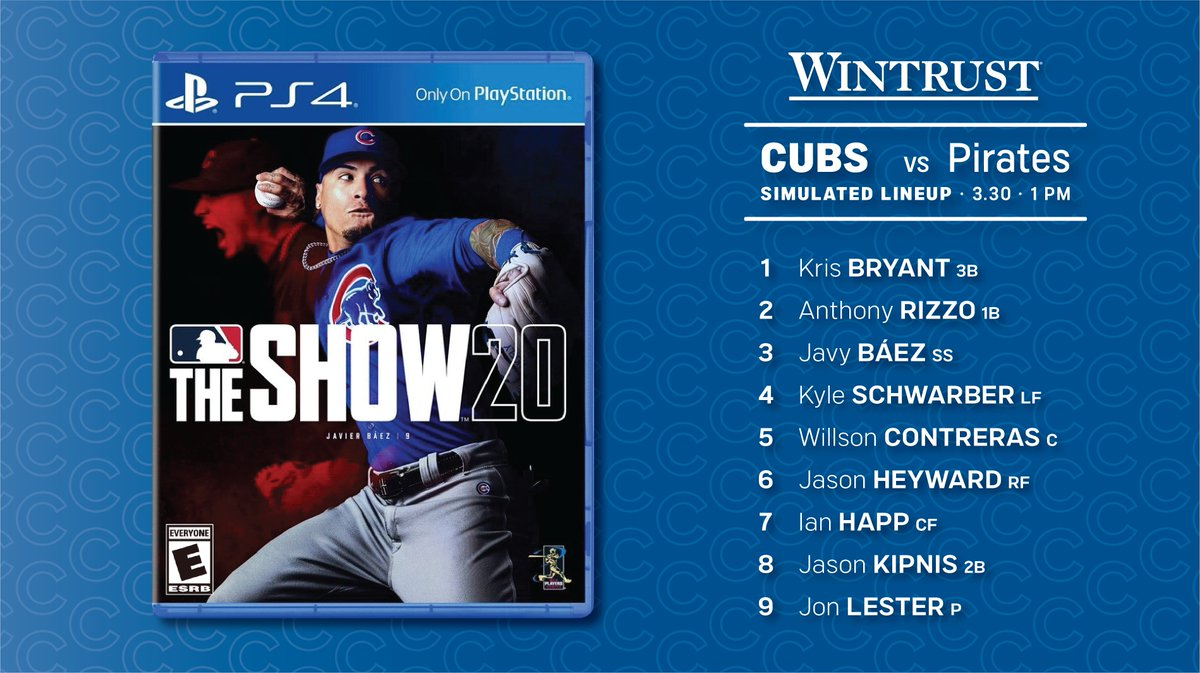 The Cubs play the Pirates in their virtual home opener on Facebook at 1 p.m.  @Wintrust  