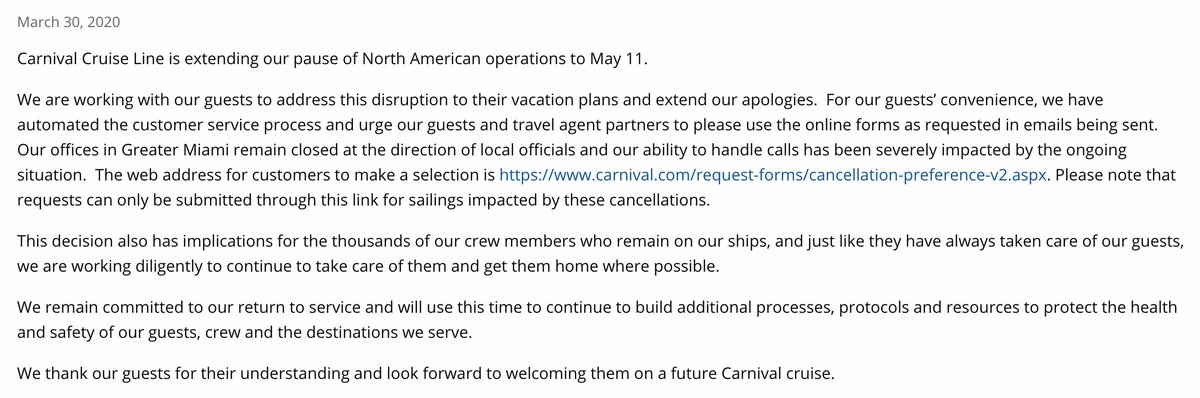 """NEW: Carnival Cruise Line is """"extending our pause of North American operations to May 11"""" amid coronavirus pandemic."""