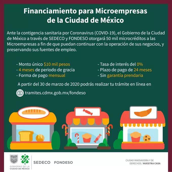El gobierno de la #CDMX a través de @SedecoCDMX y @FondesoCDMX otorgará 50 mil microcréditos a microempresas, para proteger los empleos y economía de las familias capitalinas frente a los efectos del #COVID19, ingresa a   #QuédateEnCasaCDMX