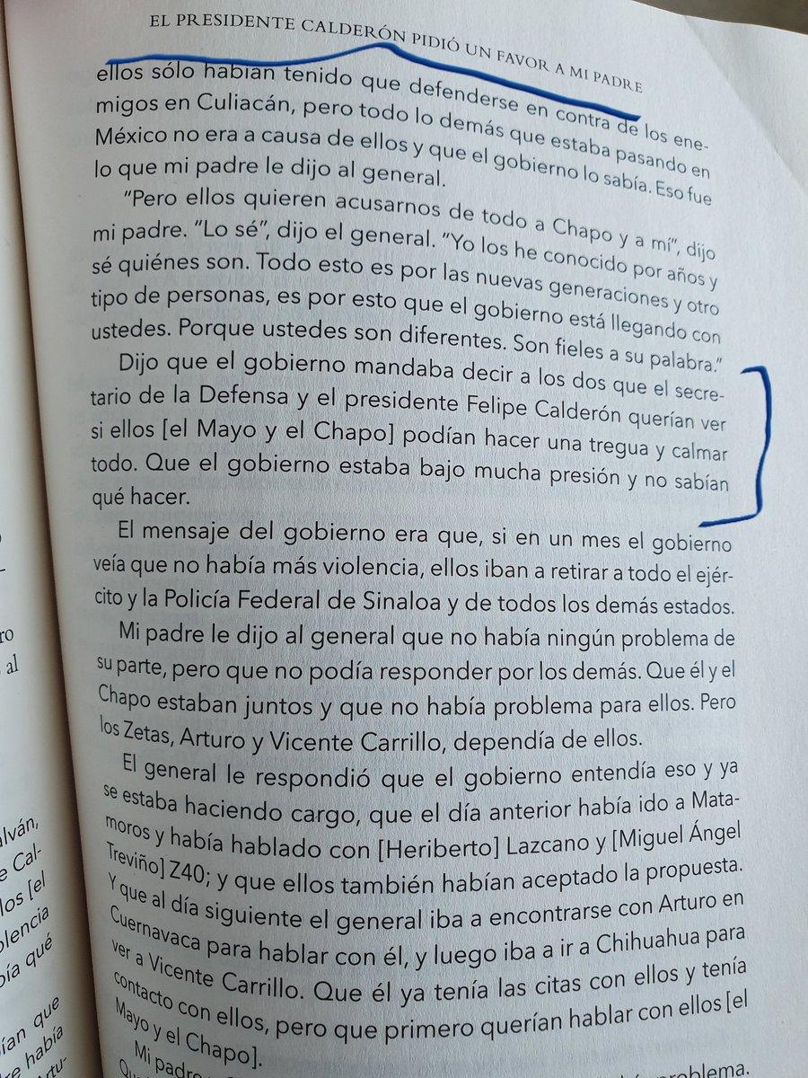 Felipe Calderón le habría pedido a Ismael el Mayo Zambada y al Chapo, jefes del Cártel de Sinaloa, que calmaran todo porque tenía el gobierno federal mucha presión. El negociador enviado: el general Mario Arturo Acosta Chaparro. Lo detalla Anabel Hernández en su libro El Traidor.