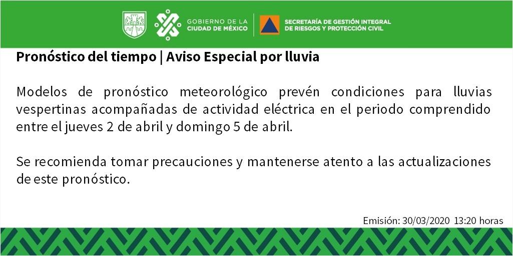 ⏺️ || Aviso Especial por lluvia ||  Toma tus precauciones y mantente informado a las actualizaciones de este pronóstico. #LaPrevenciónEsNuestraFuerza