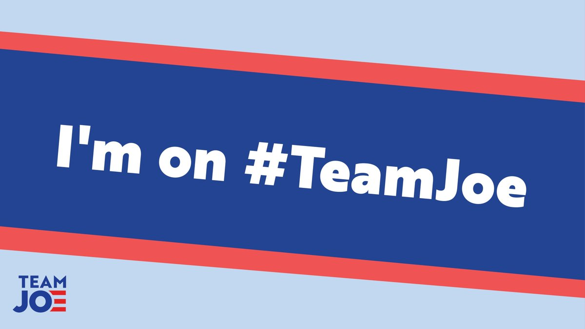 We're on #TeamJoe because we want a leader who will speak up for EVERYBODY. With @JoeBiden as president, no one will be counted out, or left behind.
