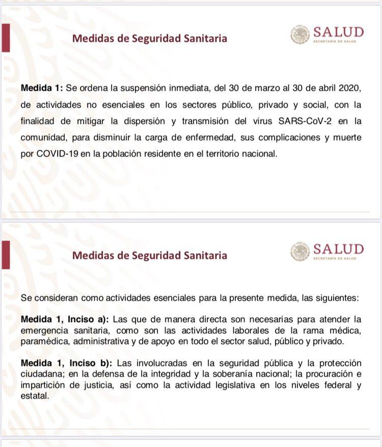 Se declara como #EmergenciaSanitaria la epidemia generada por el #COVID19  A partir del 30 de marzo se aplican las siguientes medidas: