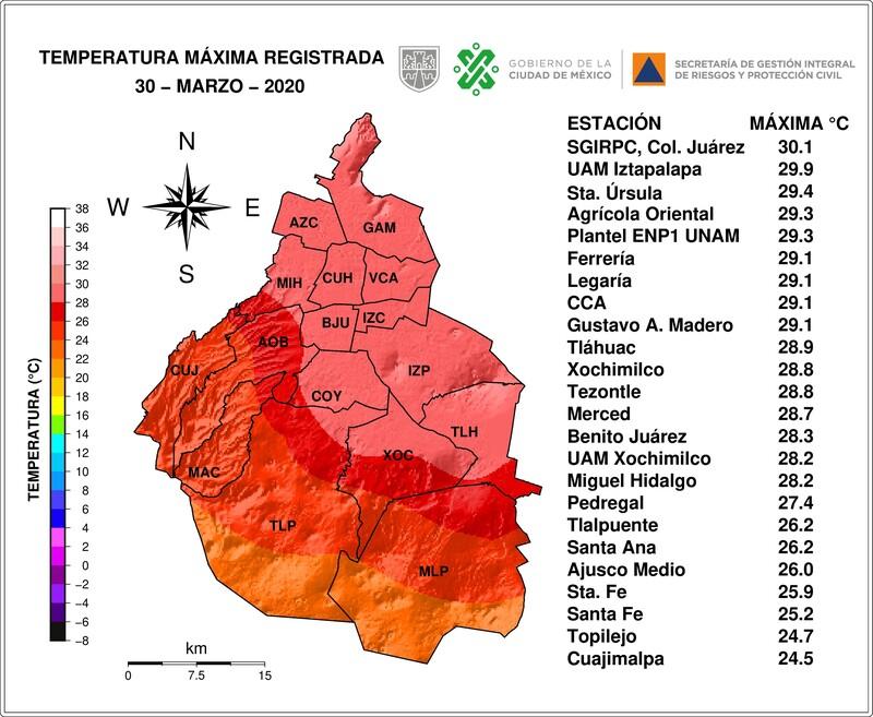Distribución espacial de las temperaturas máximas registradas el 30/03/2020 por las redes de la SGIRPC, SEDEMA, CONAGUA y UNAM.  #LaPrevenciónEsNuestraFuerza