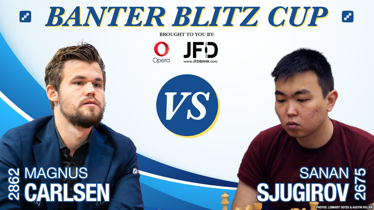 test Twitter Media - Magnus Carlsen will try to improve on his 2 games, 2 losses record vs. Sanan Sjugirov in today's #BanterBlitzCup semifinal! Check out our quarterfinals recap: https://t.co/36DDZm4dPx  #c24live https://t.co/VEzMyns41I