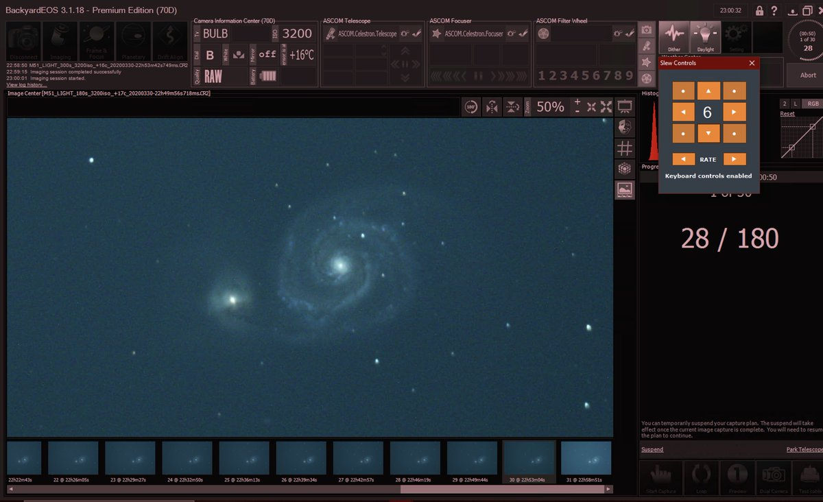Working on M51 using @Celestron CPWI software to control my AVX mount and focus motor.