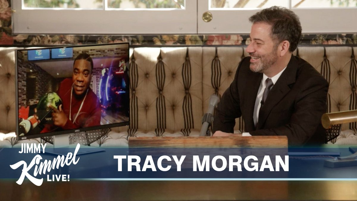 It's easier to #StayHome when you have a bowling alley like @TracyMorgan... #JimmyKimmelLiveFromHisHouse