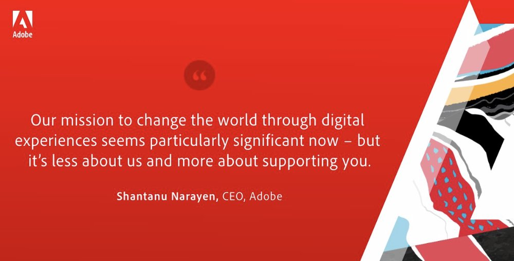 OrmeMacey: A captivating quote by CEO goes to show just how much @Adobe cares about their company mission during #AdobeSummit https://t.co/vZ1dHYH2g7