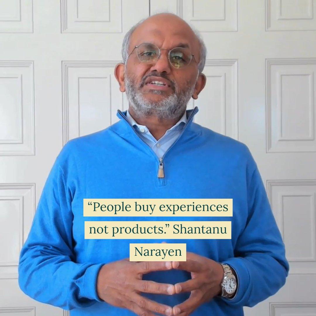 joeDmarti: Products are so 1990. nn'People buy experiences not products.' Shantanu Narayen nn#AdobeSummit https://t.co/vHn2g4qAxo