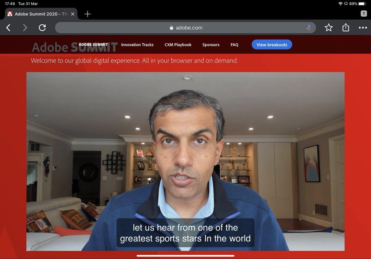 gklebus: Head of DX business at #Adobe @achakravarthy12 introducing #CXMPlaybook at #AdobeSummit keynote https://t.co/rSymn3oBrb