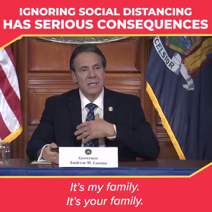 This virus is insidious. It's my family, it's your family.  Don't ignore social distancing directives.  Your actions don't just impact you — they impact the people around you.