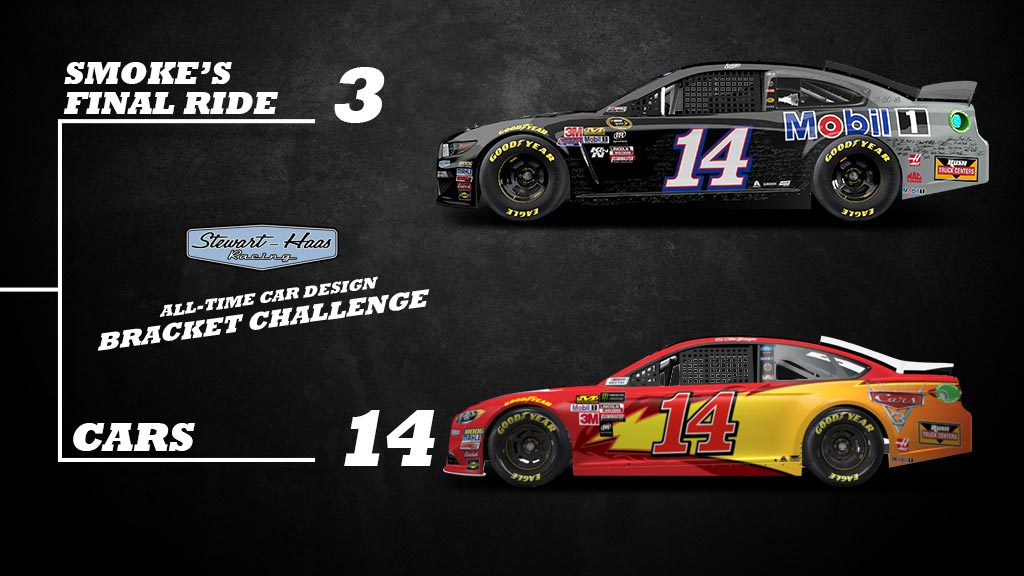 Another 🎨 battle coming your way! 😎 Will you choose @TonyStewart's final #NASCAR Cup Series ride or the CARS hot rod? Ka-chow!  #SHRacing // #MarchMadness